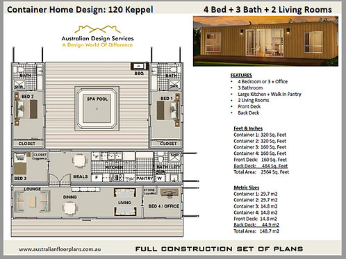 4 Bedroom 2 + 3 Bathroom Shipping Container Home plans:120 Keppel