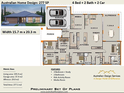 277 SP  | 4 Bed + Study + Kids Rm : 277.1  m2  | Preliminary House Plans