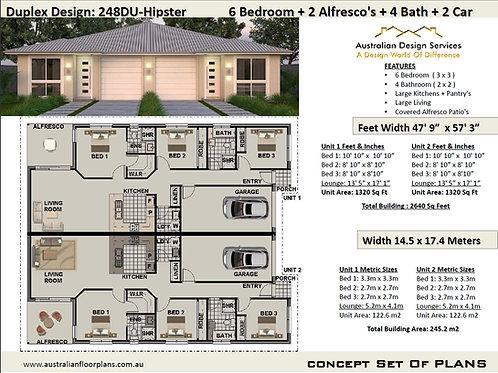 Modern Duplex Design 6 Bed + 4 Bath + 2 Cars Duplex House Plans :248DUHipster