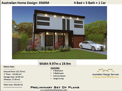 FLAT ROOF House Plan 4 Bed + 3 Bath: 356.0 m2 | 356RM