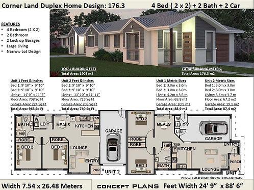 4 BEDROOM  NARROW DUPLEX !  | 176.3 DU House Plan Set