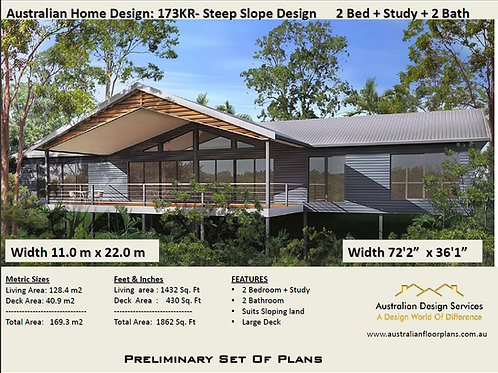 173KR-2 Bed + Study Raised House Plan:173.2 m2 | Preliminary House Plan Set