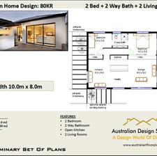 80CLM Modern Free 2 Bed House Plan Australia