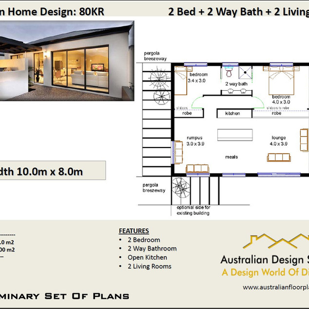 80CLM Modern Free 2 Bed House Plan Australia