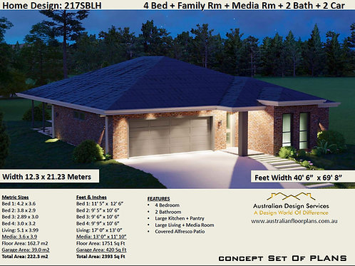 4 Bedroom House Plans Design 217SBLH