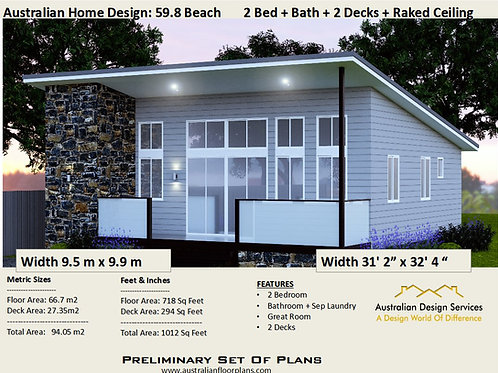 59-2 Bed+Great Room Granny Flat Plans 59.8 m2 | Preliminary House Plan Set- Buy