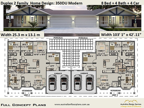 Modern Duplex Design 350 DUModern | 8 Bed + 4 Bath + 4 Car Garage