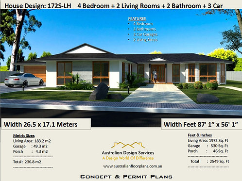 4 Bedroom House Plan : 236.8 m2 or  2549 Sq. Foot  | House Plans 172S
