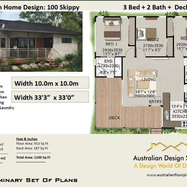 100kr-3 Bed Free House Plan Australia