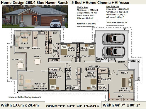 Country Style 5 Bedroom House Plans : 260.4 m2  | Preliminary House Plan Set