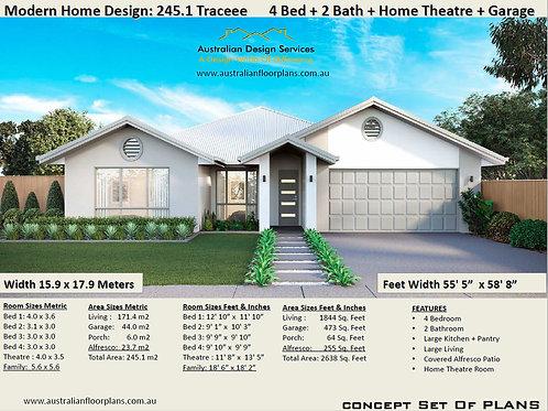 Modern Home Design: 245.1 Traceee : 4 Bed + 2 Bath