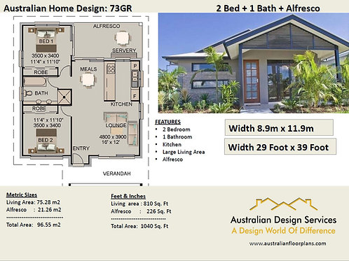 2 Bed House Plan- 73 GR : 96.55 m2 | Preliminary House Plan Set- Buy Sale