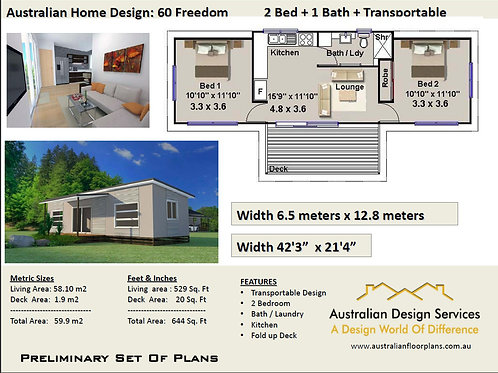 60 Freedom-Transportable 2 Bed Plan:60.0 m2 | Preliminary House Plan Set - Buy