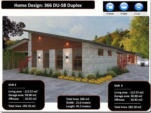 366 DU| 6 Bed + 6 Bath+ 4 Car : 366.0 m2  | Duplex Design Preliminary House Plan