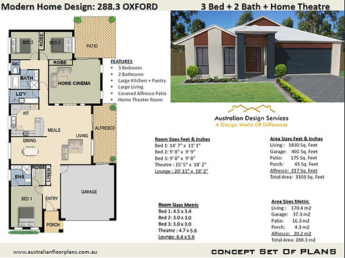 288 KRRH OXEN | 3 Bed + Family : 288.3 m2  | Preliminary House Plans