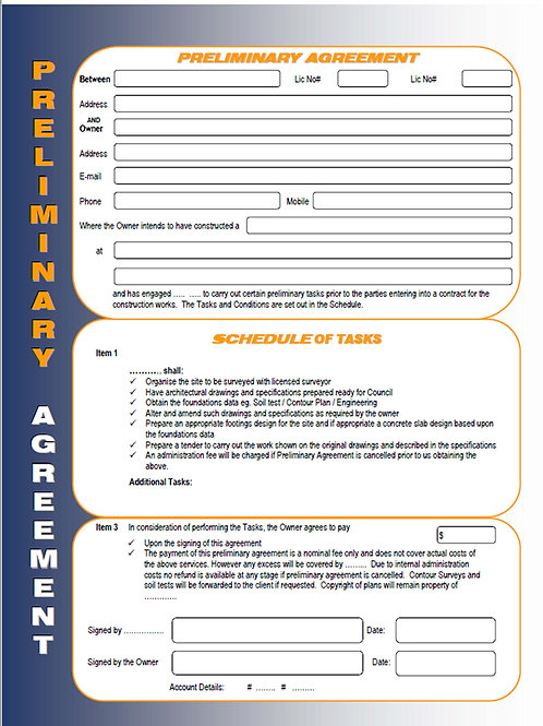 Construction Template/Service Agreement /Preliminary Agreement /Contractor Agree