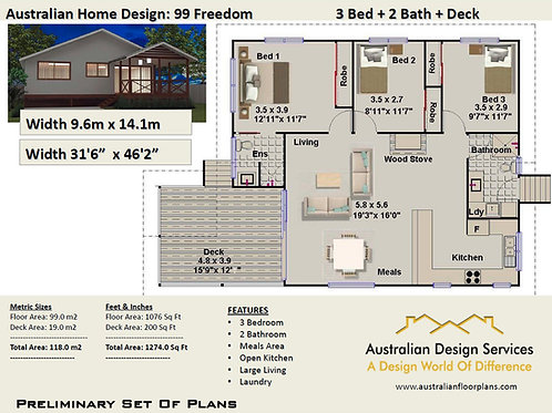 99 Freedom-Small 3 Bedroom House Plan:118.0 m2 | Preliminary House Plan Set