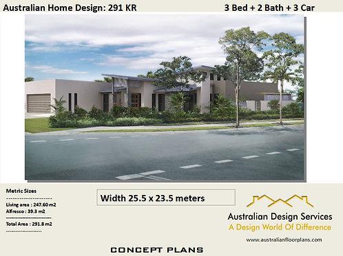 291 KR-3 Bed + Garage Plan: 291.8 m2 | Preliminary House Plan Set
