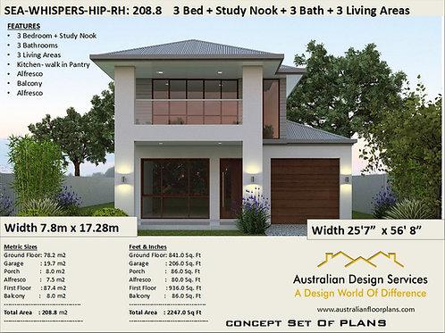208 m2 | 2247 sq. feet | Narrow Lot 2 story home designRH-Preliminary Home Plans