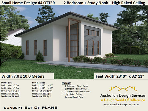 2 Bed + Study Nook Granny Flat Plan: 44 Otter  | Concept House Plans