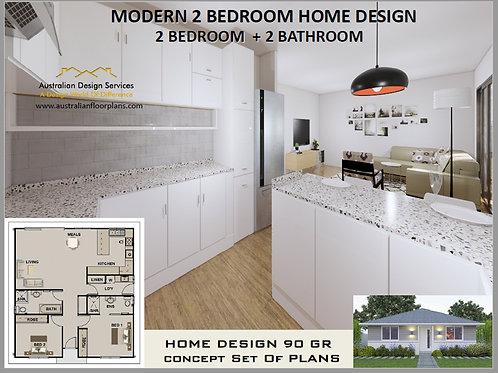 Modern Granny Flat 2 Bed 2 Bath House Plan:90.0 m2 | Preliminary House Plan Set