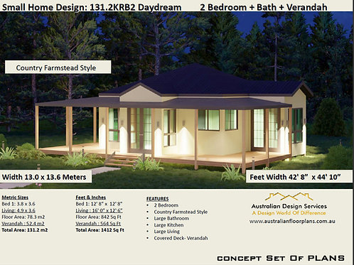 2 Bedroom  Small Country Homestead House Plan:131.2KRB2