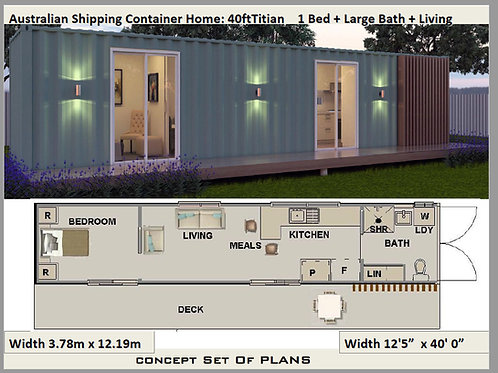 40 Foot Shipping Container Home Plan: Titian 40ft