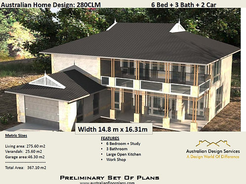 280 CLM | Modern 2 Storey 6 Bed+Study+2 Car:  351.3 m2 | Preliminary House Plans