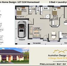 127CLM-3 Bed + Garage House Plan