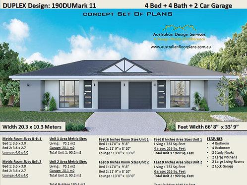 4 Bedroom 4 Bathroom !  duplex house plans  | 190 DU  MARK 11 House Plan Set