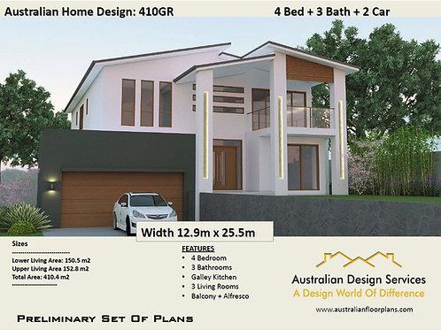 2 storey house designs | Skillion 2 Storey 4 Bed+3 Bath+2 Car:  409.0 m2 | 410GR