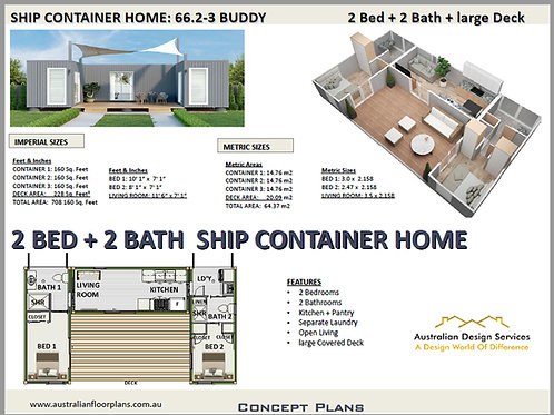 Shipping Container Home2 Bedroom 2 Bathroom plans:66.2 Buddy-3