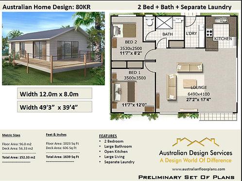 80KR-Australian 2 Bed House Plan:152.33 m2 | Preliminary House Plan Set- Buy