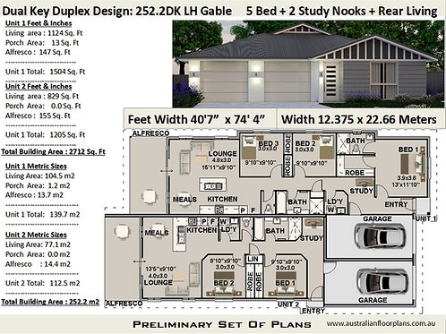 Duplex House Plans 252.2DKLH Dual Key 5 Bed + 3 Bath + 2 Study Design