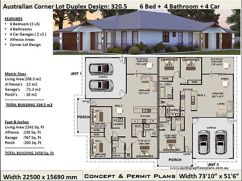 320.5 DU | 6 Bed + 4 Bath: 320.5 m2 | Corner Duplex Design Permit House Plans