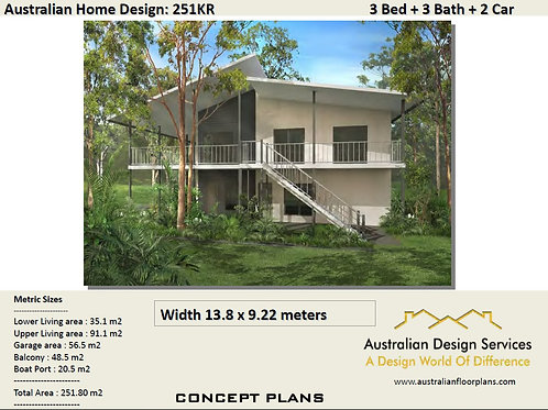 251KR Beach | Sea Change 2 Level 3 Bed : 251.0 m2 | Preliminary House Plans