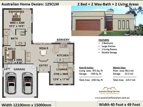 125 CLM-2 Bedroom + 2 Car:125.7 m2 | Preliminary House Plan Set For Sale