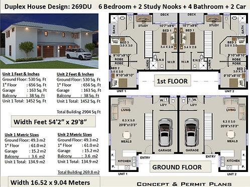 6 Bedroom Duplex / Townhouse House Plans | House Design 269DU