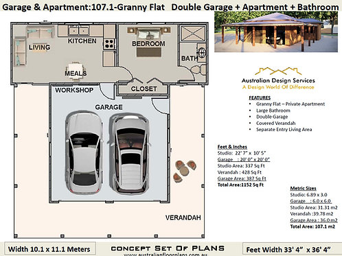 Granny Flat +  Double Garage :107.1Flat