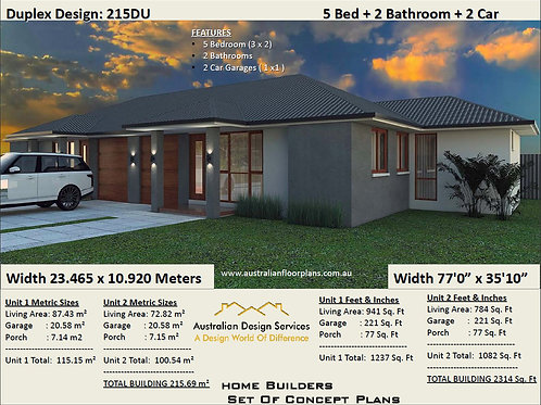 215DU  | 5 Bed + Garage: 215 m2 (2314Sq.Foot) Duplex House Plan Preliminary Hous
