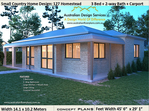 Small Country 3 Bed + Carport  Plan :127CLM:125.37 m2 | Concept Plans For Sale
