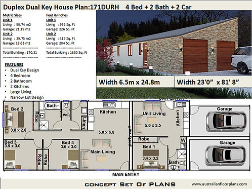 house plans with granny flat attached  | 4 Bed :171.0 m2  | 171 DU  House Plans