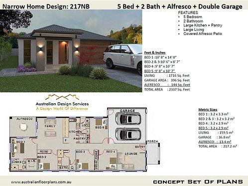 217NB | Narrow Lot 5 Bed + Garage: 217.0 m2  | Preliminary House Plan Set