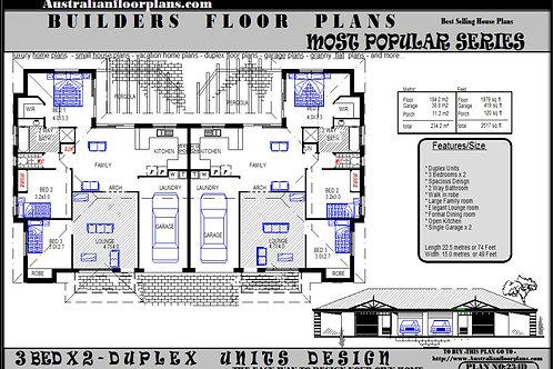 234 DU | 6 Bed + 2 Bath : 234.2 m2  | Duplex Design Preliminary House Plans