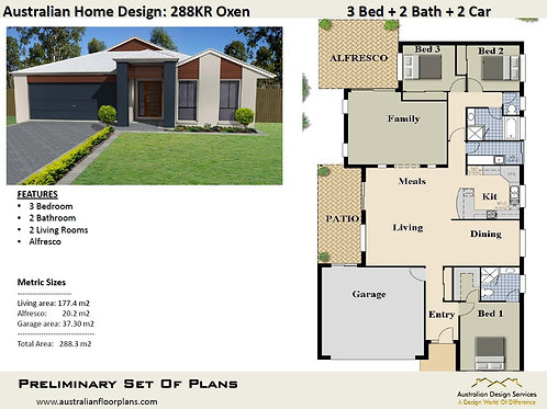 288 KRRH OXEN | 3 Bed + Family : 288.3 m2  | Preliminary House Plans