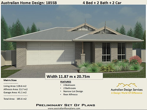 12.5 meter frontage homes plans | 185SB House Plan Set