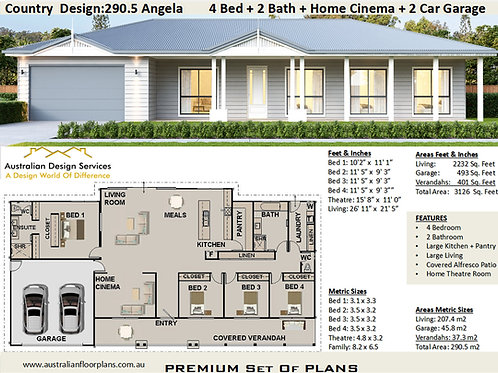 House Plans - Country  Design:290.5 Angela