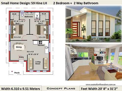 59 Hine | 2 Bed House Plan-63.6 m2 - 685 Sq. Foot| Concept House Plan Set-4 Sale
