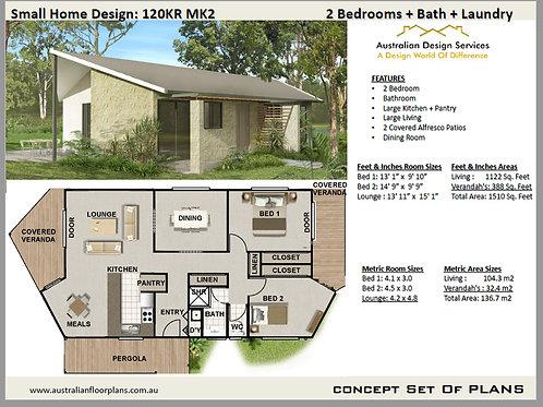 120KR-Australian 2 Bed House Plan:104.3 m2   Concept House Plan Set