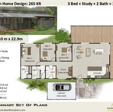 3 Bed + Study House Plan265KR